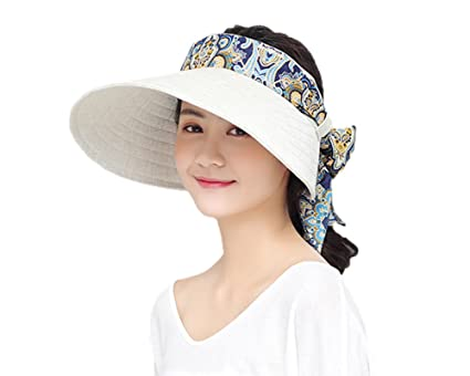8e895524947 JIAHG Women Summer Beach Sun Hat Wide Brim Visor Caps Women Folable Floppy  Floral Empty Top