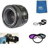 Yongnuo EF 50mm F1.8 Standard Prime Lens Kit Nikon DSLR Camera Set of 3 Filters, case, Hood, Cleaning Cloth USA Warranty.