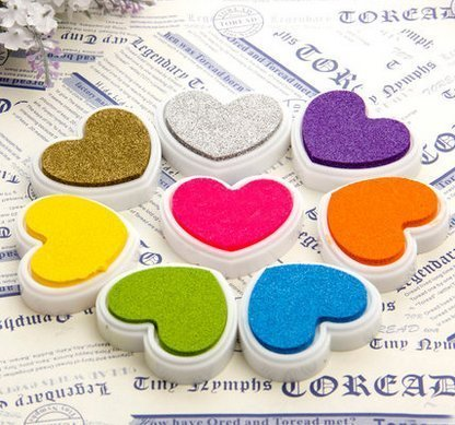 - Home Mart Heart Shaped Ink Pads Candy Colors Inkpad Fresh Stamp Pad for Rubber Stamps Card Making DIY Scrapbooking