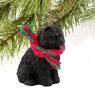 Chow Chow Miniature Dog Ornament - Black - Chow Christmas Ornament