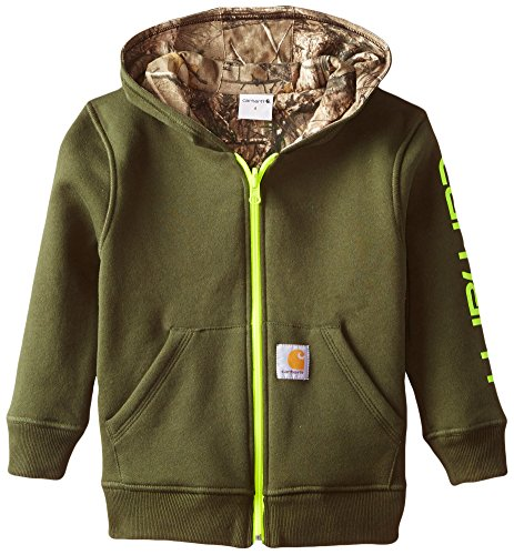 Carhartt Little Boys' Reversible Fleece Zip Sweatshirt, Olive, 4