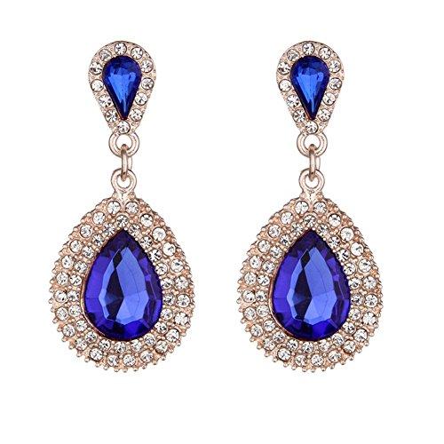 - Women Pear Shape Crystal Earrings Dangle Teardrop Rhinestone Earring (Gold + Sapphire Blue)