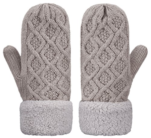 IL Caldo Womens Knitted Mittens Winter Twist Thick Plush Edge Warm Outdoor Gloves,Dark gray - Edge Plush