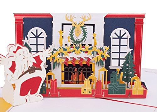 aitpop hand-crafted tarjeta de felicitación 3d Pop Up Tarjeta Tarjeta de _ _ _ _ _ _ _ _ _ _ de Navidad Chimenea (Rojo)