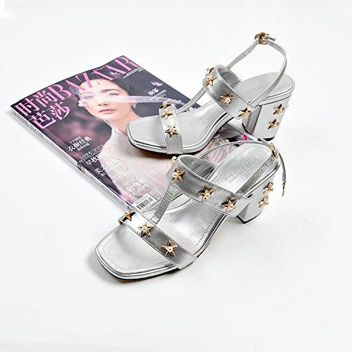 perla seta argento 39 fibbia casual estate alto alto alto Tacco stelle in tacco yalanshop Calzature raso sandali Donna spessore di con tacco sandali gX41q