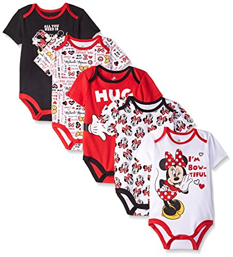 Disney Baby Minnie Mouse 5 Pack Bodysuits, Multi/Red, 6-9 Months