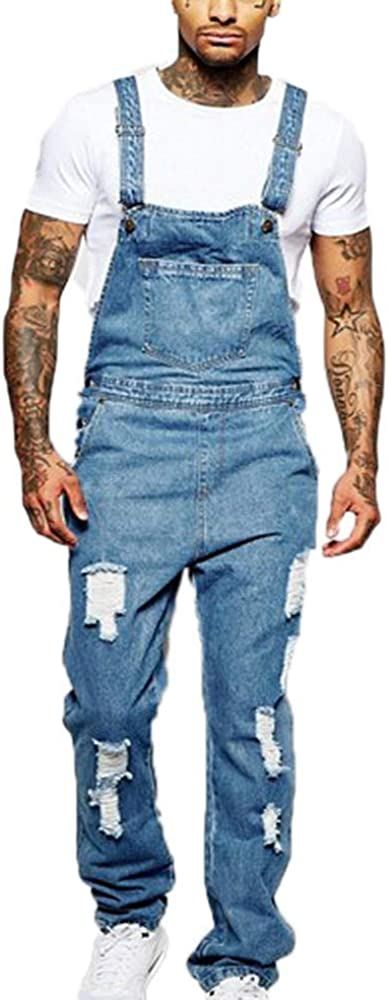 LOVOAVR Mens Ripped Hole Jeans Jumpsuits Distressed Denim Overalls Bib Dungarees Stonewash Suspender Trousers Playsuit