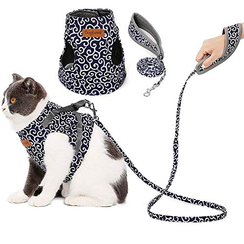 Adnikia Floral Dog Cat Harness and Leash Set Escape Proof Pet Harness Vest with Padded Handle Leash(120m/47.2″ Long) for Kittens Kitties Puppies, No-Pull Cats Jackets Apparels Adjustable Cat Vest