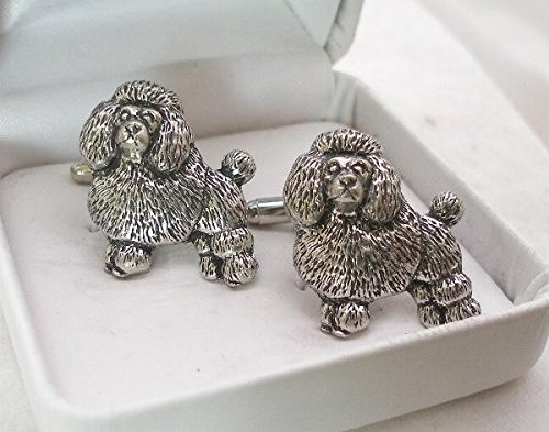 Poodle Dog Pewter Cuff Connectors - Gift Boxed