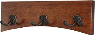 """product image for PegandRail Solid Cherry Arched Wall Mounted Coat Rack Double Bronze Hooks - Made in The USA (Dark Cherry, 15"""" x 4.5"""" - 3 Hooks)"""