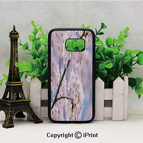 Floral Tree Branches Cherry Blossom Petals Buds Flourishing Nature Landscape Samsung S7 Case for Girls Women Hard Back Shock Drop Proof Impact Resist Protective Case for Samsung S7 Baby - Cherries Pink Baby