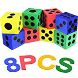 8 Pieces Foam Jumbo Playing Dice Colorful Dice Set for Building Blocks, Educational , Math Teaching, Pastime, Party Favors, Bag Stuffers, Fun, , Gift, Prize