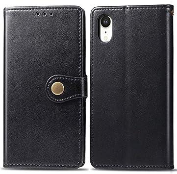 YQXR telefonos Accesorios Compatible con el Caso del iPhone XR, el Estuche Delgado de Cuero PU Premium con Cierre magnético Fuerte de Doble vía (Color : Black): Amazon.es: Electrónica