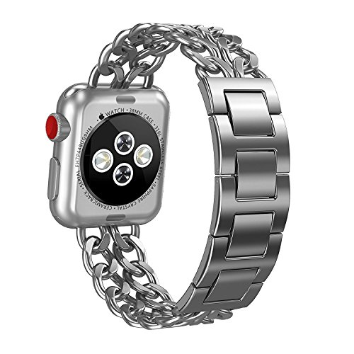 For Apple Watch Bands 42mm Women Men, Biaoge Stainless Steel Metal Replacement Wristband with Adjustable Bracelet for Apple Watch Nike+, Series 3, Series 2, Series 1, Sport, Edition, Silver (Lavender Leather Band Watch)