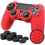 Pandaren STUDDED Anti-slip Silicone Cover Skin Set for PS4 /SLIM /PRO controller(Red controller skin x 1 + FPS PRO Thumb Grips x 8)