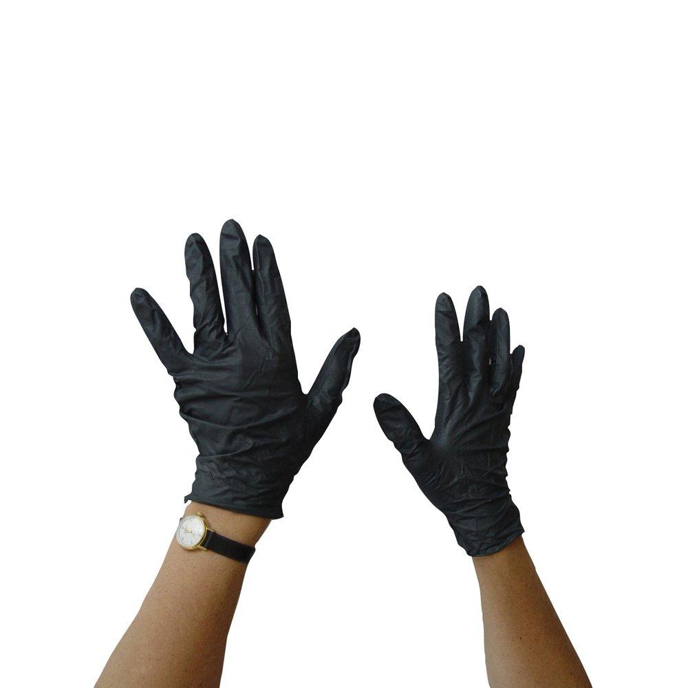 使い捨てニトリル手袋。 L ブラック L  B07FMLS71S