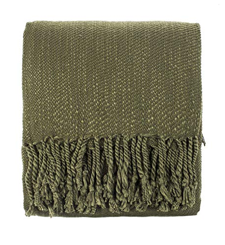 Fennco Styles Woven Classic Chunky Yarn Fringe Throw Blanket 50