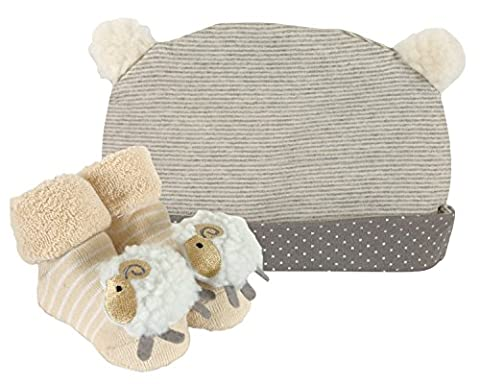 Stephan Baby Rattle Socks and Knit Cap Gift Set, Stripy Grey/Cream Lamb (Booties With Rattles)