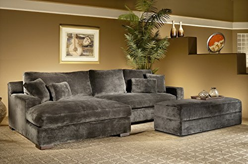 Valentia Home 2-Piece Bethenney Sectional RAF One Arm Sofa and LAF One Arm Chaise and Ottoman, Minx/Smoke (Raf Chaise Sectional)