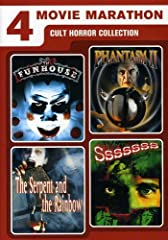 The 4 Movie Marathon: Cult Horror Collection includes The Funhouse, Phantasm II, The Serpent and the Rainbow and Sssssss. Chilling favorites from directors Wes Craven, Don Coscarelli and More!