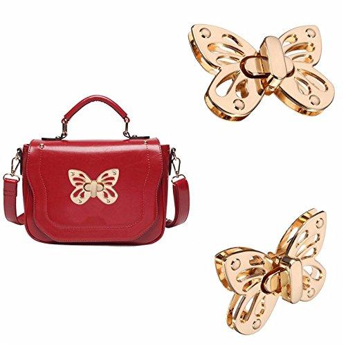 TOOGOO Fashion Women Butterfly Tone Handbag Bag Accessories Purse Twist Turn Lock Snap Clasps/Closure for Bag DIY Buckle