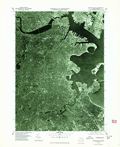 YellowMaps Boston South MA topo map, 1:25000 Scale, 7.5 X 7.5 Minute, Historical, 1977, Updated 1980, 26.9 x 22 in - Polypropylene -