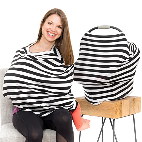 Cool Beans Baby Car Seat Canopy and Nursing Cover - Multiuse - Soft and Stretchy Fabric Easily Covers High Chairs, Shopping Carts, Car Seats - Bonus Infant Baby Beanie and Bag (Black and White)