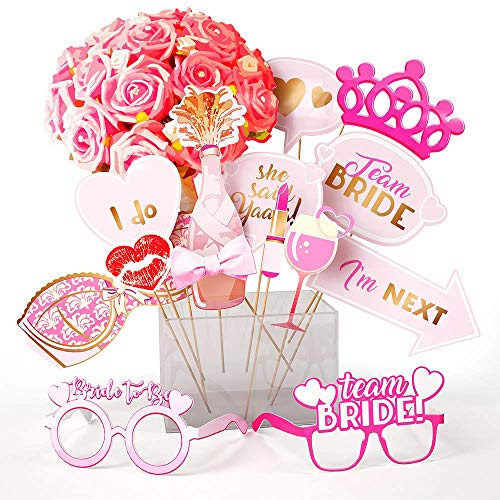 Bachelorette and Bridal Shower Photo Booth Props, 15 Pcs. Hen Party Decorations and Supplies Kit with Assorted Designs and Sticks Best for Engagement Parties & Selfies, Fun Signs for Bride To Be
