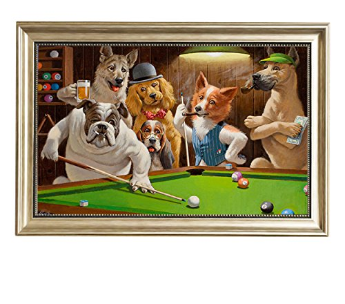 Framed Oil Painting 24 Reproduction (Eliteart-Dogs Playing Pool Billiard Artisan by Cassius Marcellus Coolidge Oil Painting Reproduction Giclee Wall Art Canvas Prints-Framed Size:19