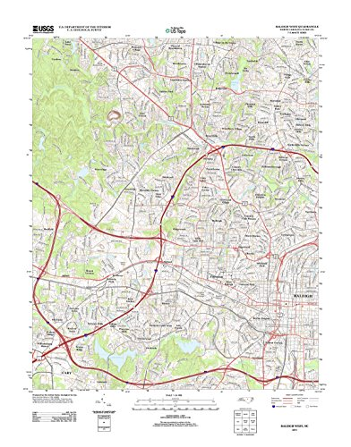Topographic Map Poster - RALEIGH WEST, NC TNM GEOPDF 7.5X7.5 GRID 24000-SCALE TM 2012 17