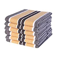 Honeycomb Stripe Kitchen Towel 18x28inch Coffee/ Mustard,100% Cotton, Quick Dry,Tea Towels,Bar Towels, Highly Absorbent,Cleaning Towels, Kitchen Tea Towels, Pure Cotton, Absorbent Dish cloth Set of 6