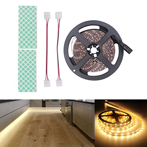 BIHRTC 12V DC Non-Waterproof LED Strip Light SMD 5630 32.8ft(10M) 5M/Roll 600 LEDs 300LEDS/Roll Flexible Rope Light (No Power Supply), Warm White by BIHRTC (Image #1)