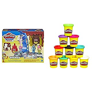 Play-Doh Kitchen Creations Drizzy Ice Cream Playset Featuring Drizzle Compound & 6 Non-Toxic Colors & Modeling Compound 10 Pack Case of Colors, 2 Oz Cans, Ages 2 & Up, (Amazon Exclusive), Multicolor