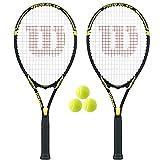 Wilson 2 x Tour Tennis Rackets + 3 Tennis Balls