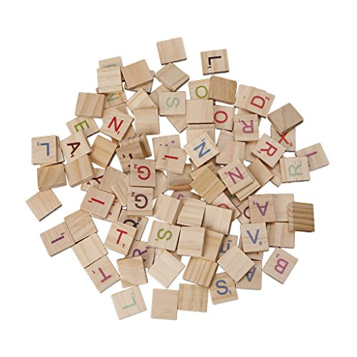 changeyou 100pcs木製スクラブルタイルカラフルLetters Numbersクラフト木製アルファベット玩具