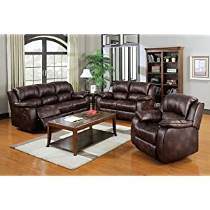3 pc Zanthe collection motion brown polished microfiber fabric upholstered sofa , love seat and recliner with recliner ends