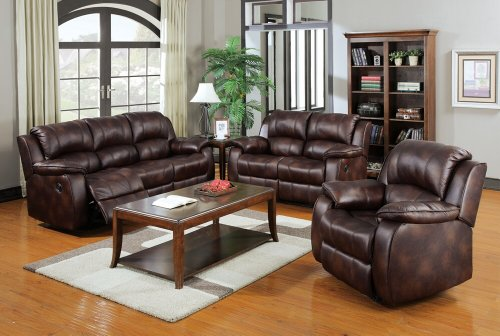 3 pc Zanthe collection motion brown polished microfiber fabric upholstered sofa , love seat and recliner with recliner ends - Microfiber Fabric Upholstered Sofa