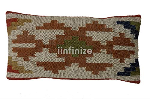 iinfinize - Wool Jute Pillow Cover Abstract Design Zip Closure Bohemian Handwoven Kilim Cushions Hippie Throw Rectangle Size Home Decor Sham 12x24 Decorative Floor Pillow Rest Cushion Cover Stylish