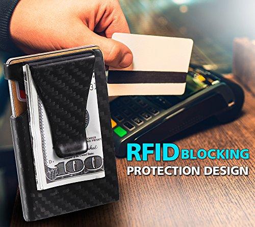 b08f9d375bae50 Antner Money Clip Credit Card Holder Carbon Fiber RFID Blocking Anti Scan  Metal Wallet Minimalist Slim