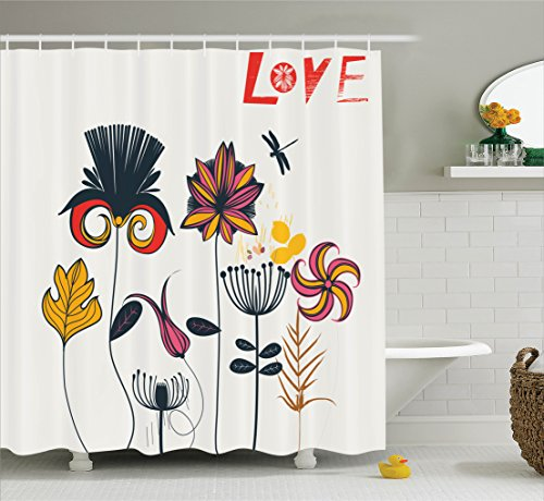 Ambesonne Country Decor Collection, Funky Featured Different Type of Flower Motif Love Mother Earth Themed Distinctive Boho Decor, Polyester Fabric Bathroom Shower Curtain Set with Hooks, Multi