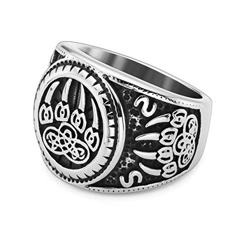 PiercingJ Men's Stainless Steel Viking Norse Celtic Knot Pagan Slavic Nordic Wolf Bear Paw Claw Veles Symbol Men Biker Signet Ring Size 9-13 by PiercingJ (Image #2)