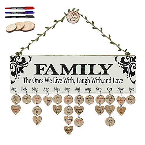 (ElekFX Gifts Dad Mom Wooden Family Birthday Reminder Calendar Board Birthday/Important Dates Tracker Home Decorative Plaque Wall Hanging [with 100 Wood Tags, 3 Wooden Hooks and 3 Pens])