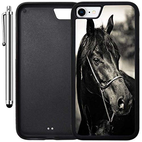 Custom Case Compatible with iPhone 7 (4.7 inch) (Horse Racing) Edge-to-Edge Rubber Black Cover Ultra Slim | Lightweight | Includes Stylus Pen by Innosub