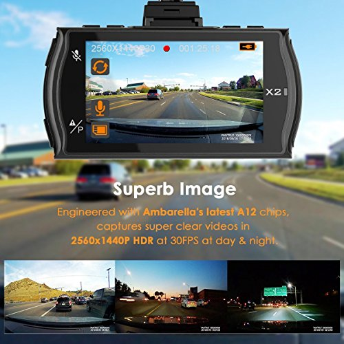Vantrue X2 Dash Cam -2.5K Super HD 1440P Dash C...