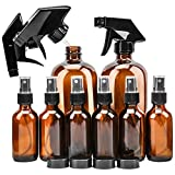 #10: Glass Spray Bottle, KAMOTA Amber Glass Spray Bottles Set (2 Pack 16 OZ & 6 Pack 2 OZ) Refillable Container for Essential Oils, Cleaning Products, or Aromatherapy - Durable Black Trigger Sprayer w/M