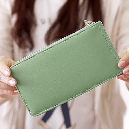 Monedero Caja De Color Tarjeta De De Wiwsi Pu Del rojo Portamonedas Y Diseño Verde La De Sandía Cuero Delgado Sólido Bolso Largo 6xxAqUwnfT