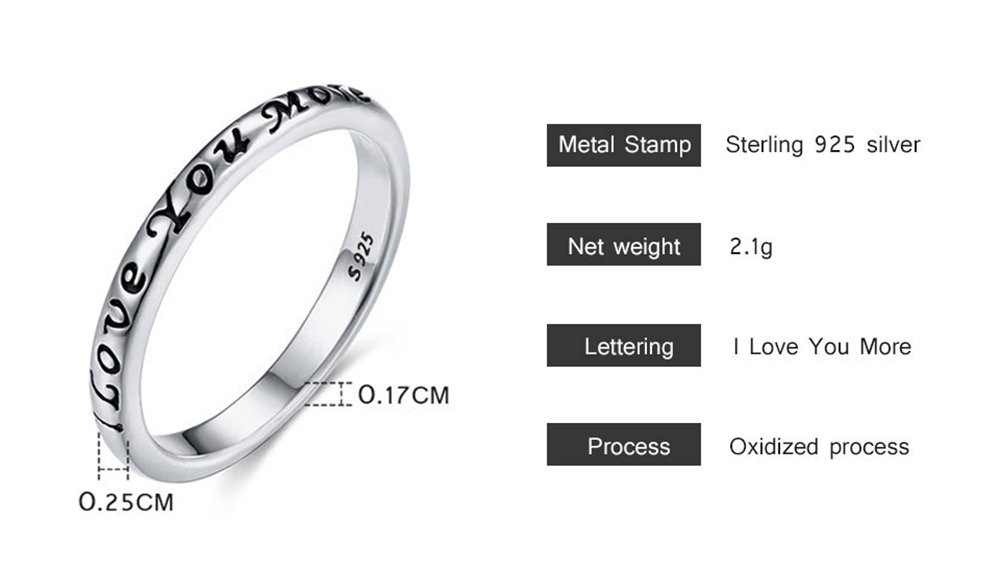 Tongzhe 3mm I Love You More Wedding Band Ring in Antique Sterling Silver 925 with US Size 6 by Tongzhe (Image #6)