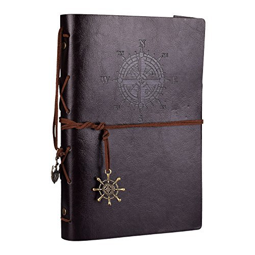 Leather Planner 6 Ring Binder Journal Pu Cover Daily Day Planner Sketch Book Refillable A5 Divider Inserts Sea Anchor Buckle,164 Unlined Craft Paper,9.2x6.4Inches by izBuy Git Box Packed (Dark Brown)