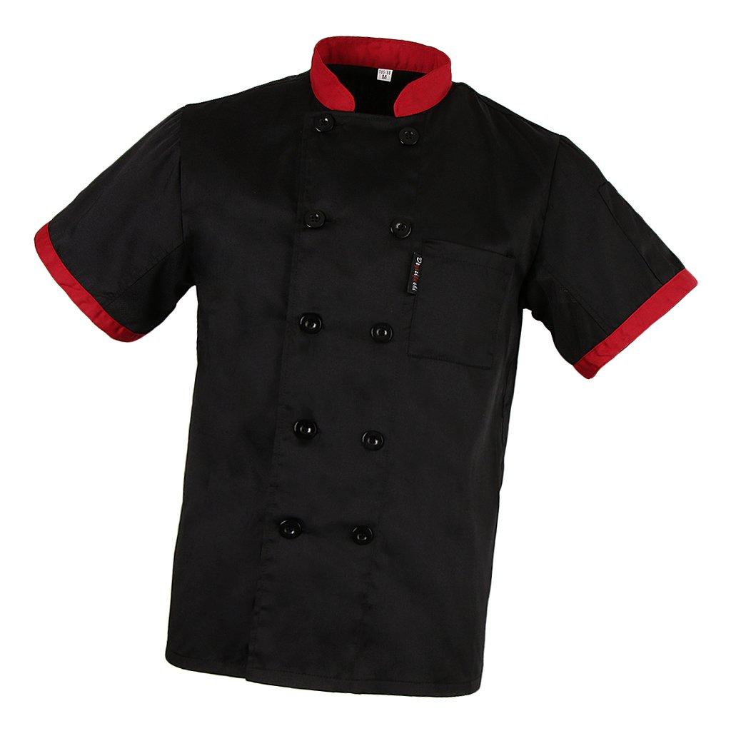 Prettyia Uomini Uniformi Camicie Giacche da Ristorazione per Chef Cuoco