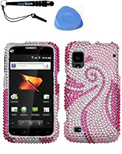 3-in-1 Bundle ZTE N860 (Warp) Phoenix Tail Full Diamond Bling Protector Cover Design Diamond Bling Snap on Hard Shell Cover Faceplate Skin Phone Case + IMAGITOUCH(TM) Touch Screen Stylus Pen + Pry Tool Case Opener